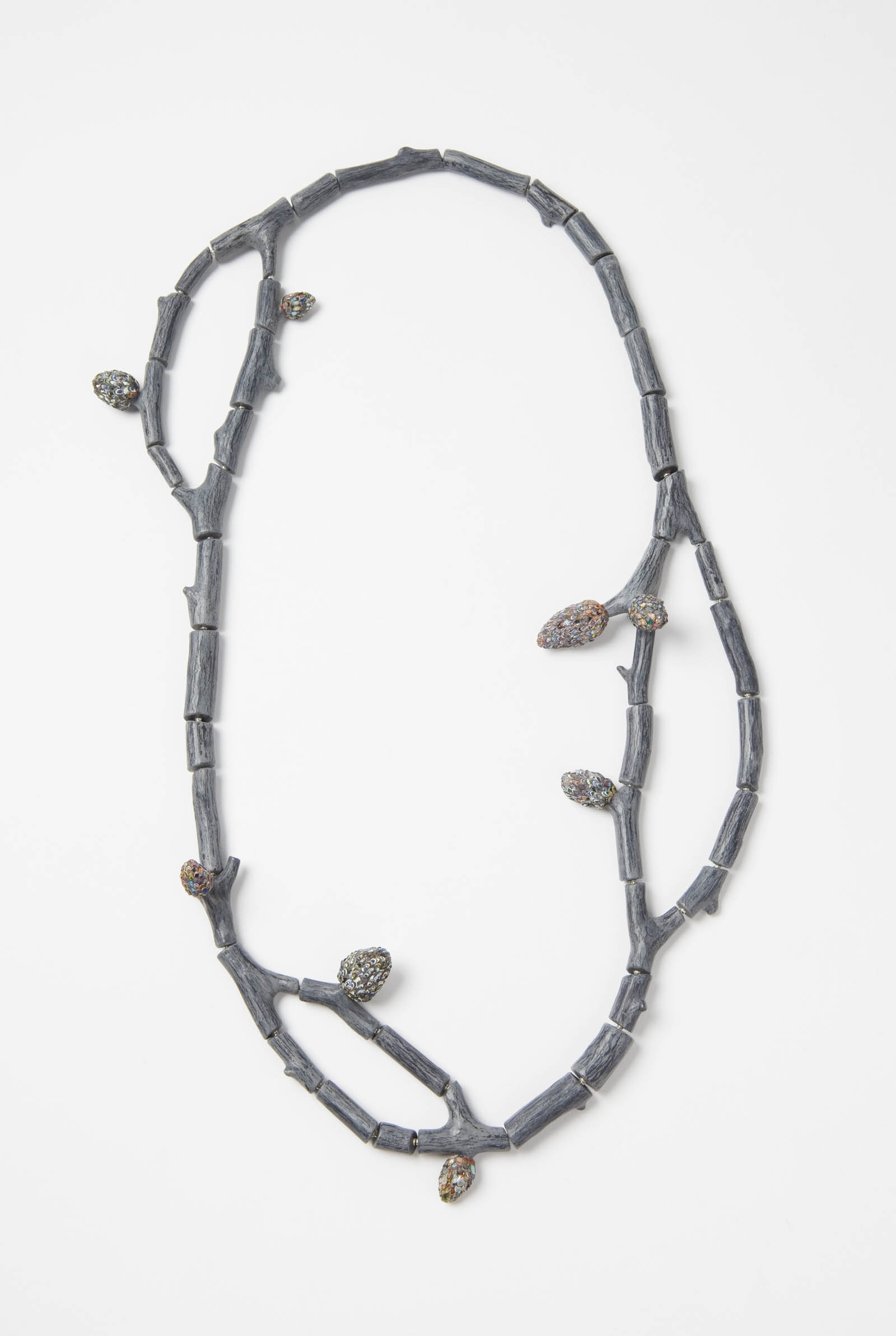 """Raduga Buds 2"" I Necklace, 2013 I Wood, graffiti, silver, steel wire, paint I Photo: Mirei Takeuchi"