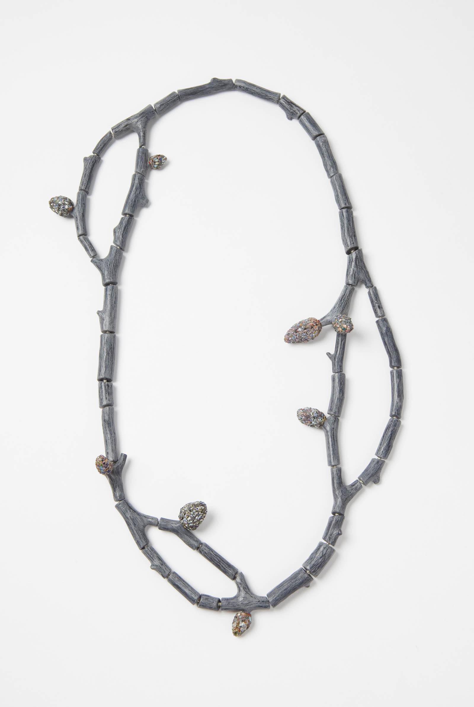 """Raduga Buds 2"" I Necklace, 2013 I Wood, graffiti, silver, steel wire, paint I Photo: Mirei Takeuchi"