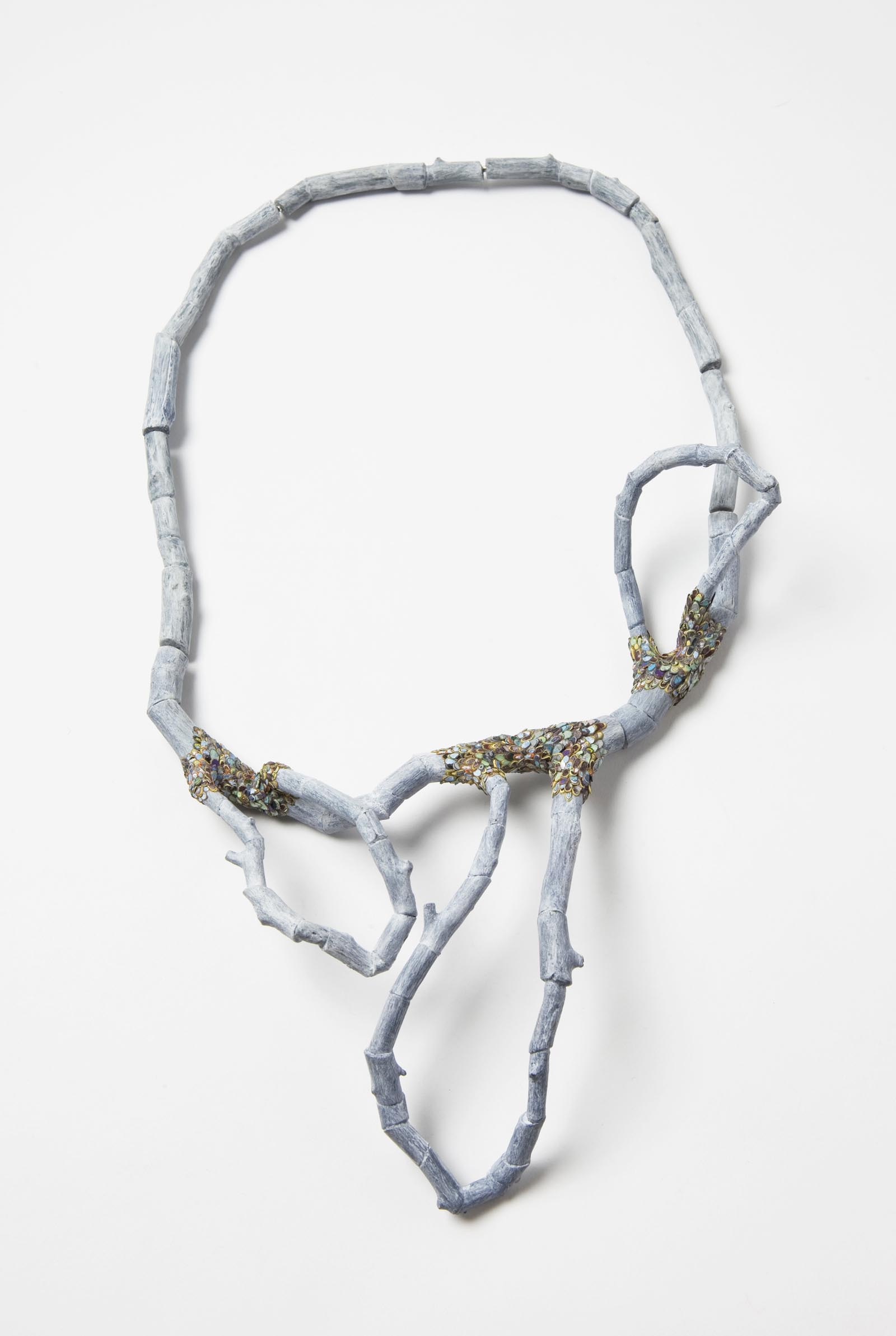 """Confused Branches 1"" I Necklace, 2014 I Wood, graffiti, silver, steel wire, paint I Photo: Mirei Takeuchi"