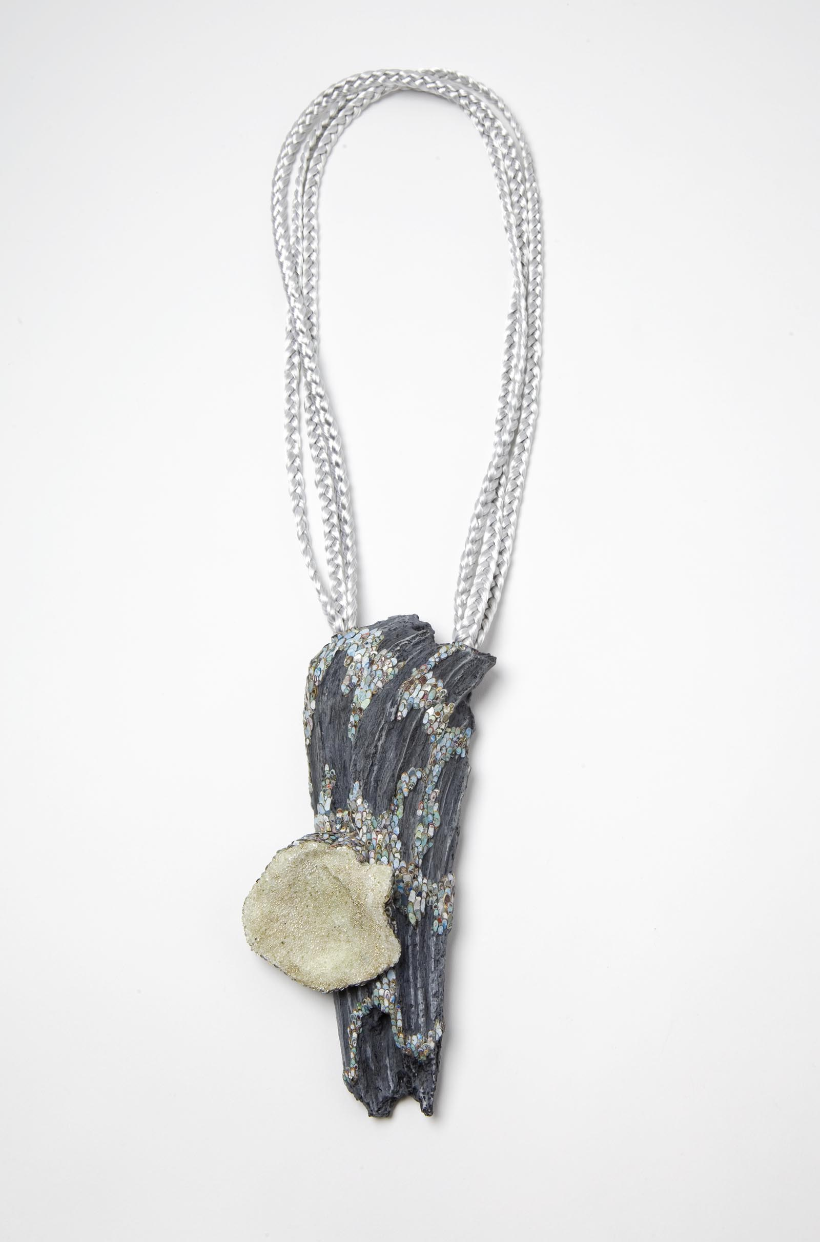"""Shine Not Burn"" I Necklace, 2014 I Wood, graffiti, oyster shell, glass, silver, string, paint I Photo: Mirei Takeuchi"