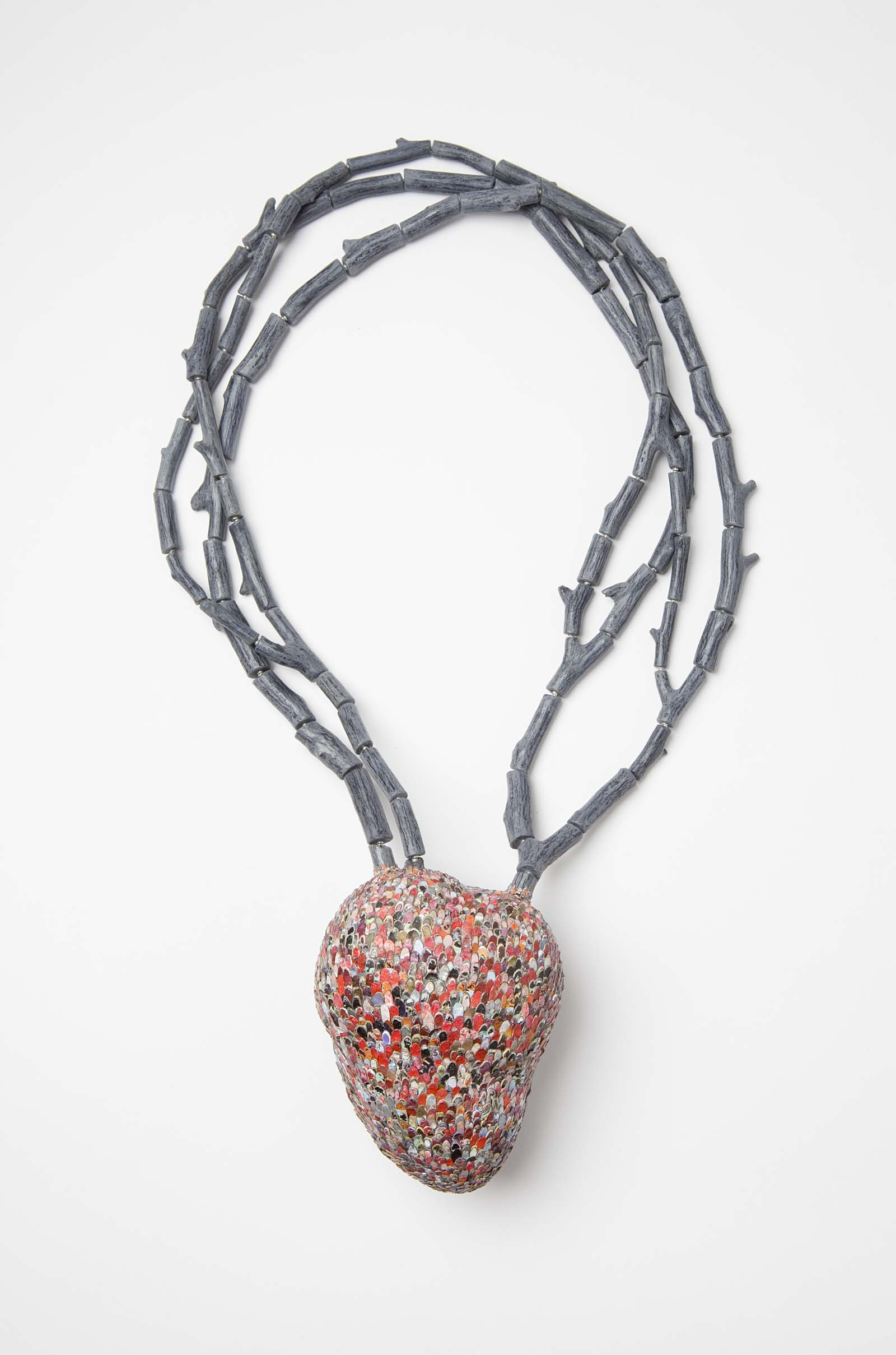 """Heart Tree"" I Necklace, 2014 I Graffiti, wood, silver, steel wire, paint  I Photo: Mirei Takeuchi"