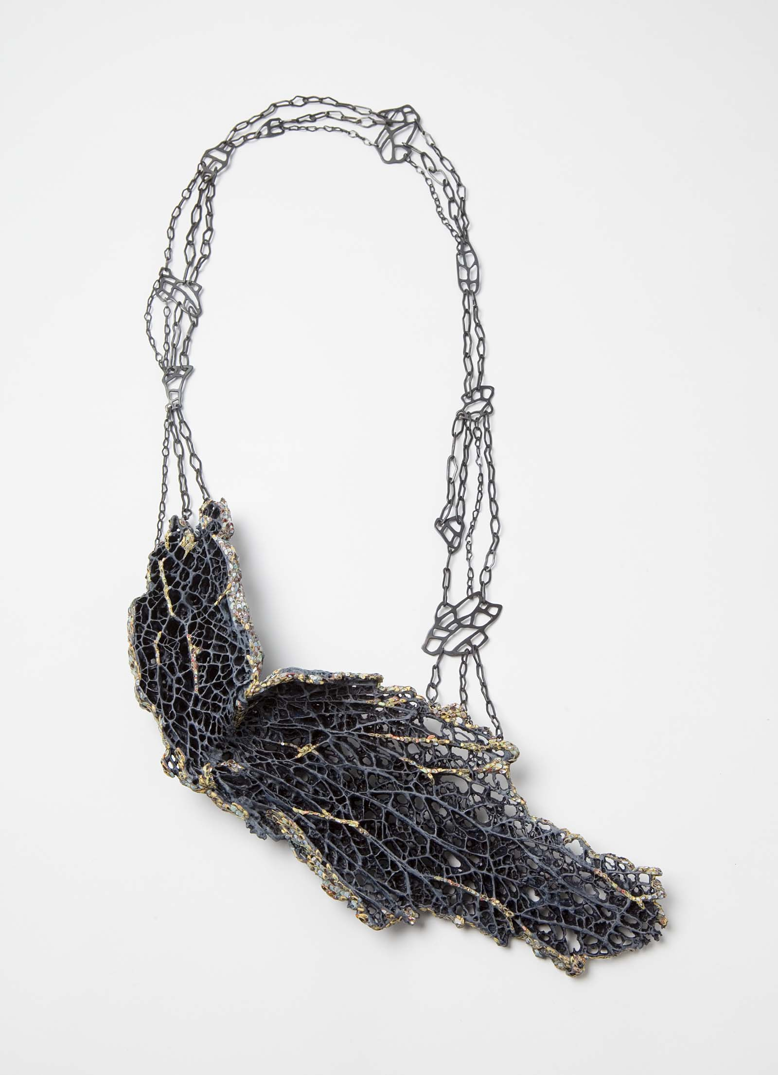 """Medulla 3"" I Necklace, 2014 I Cactus, graffiti, silver, paint I Photo: Mirei Takeuchi"