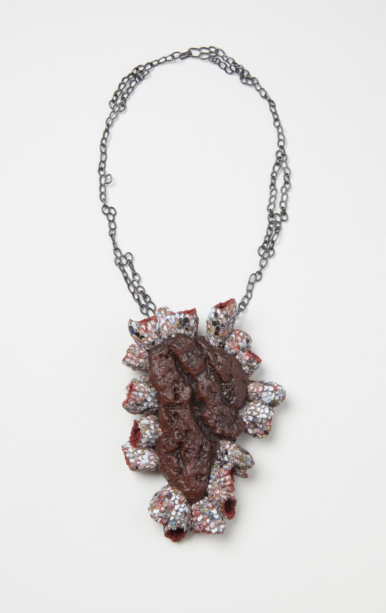 """Symbiosis 3"" I Necklace, 2016 I Graffiti, wood, almond shells, glass, silver, paint  I Photo: Mirei Takeuchi"