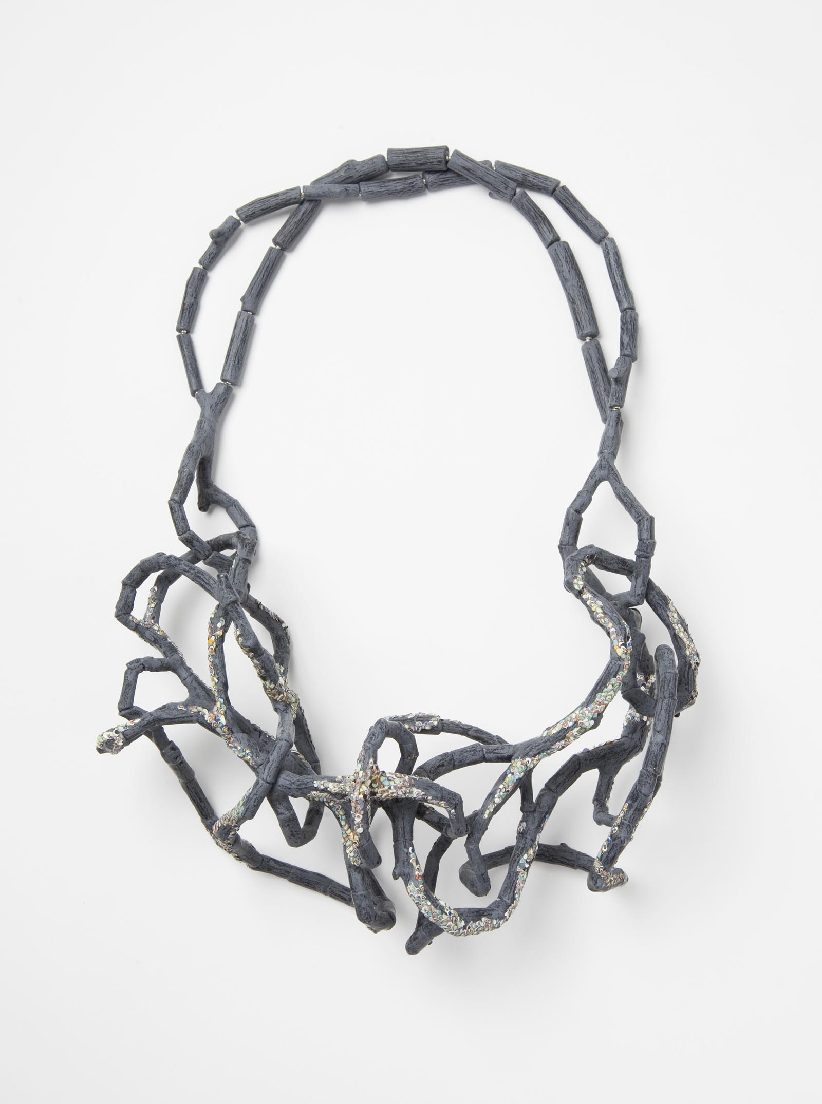 """Confused Branches 3"" I Necklace, 2015 I Wood, graffiti, silver, steel wire, paint I Photo: Mirei Takeuchi"