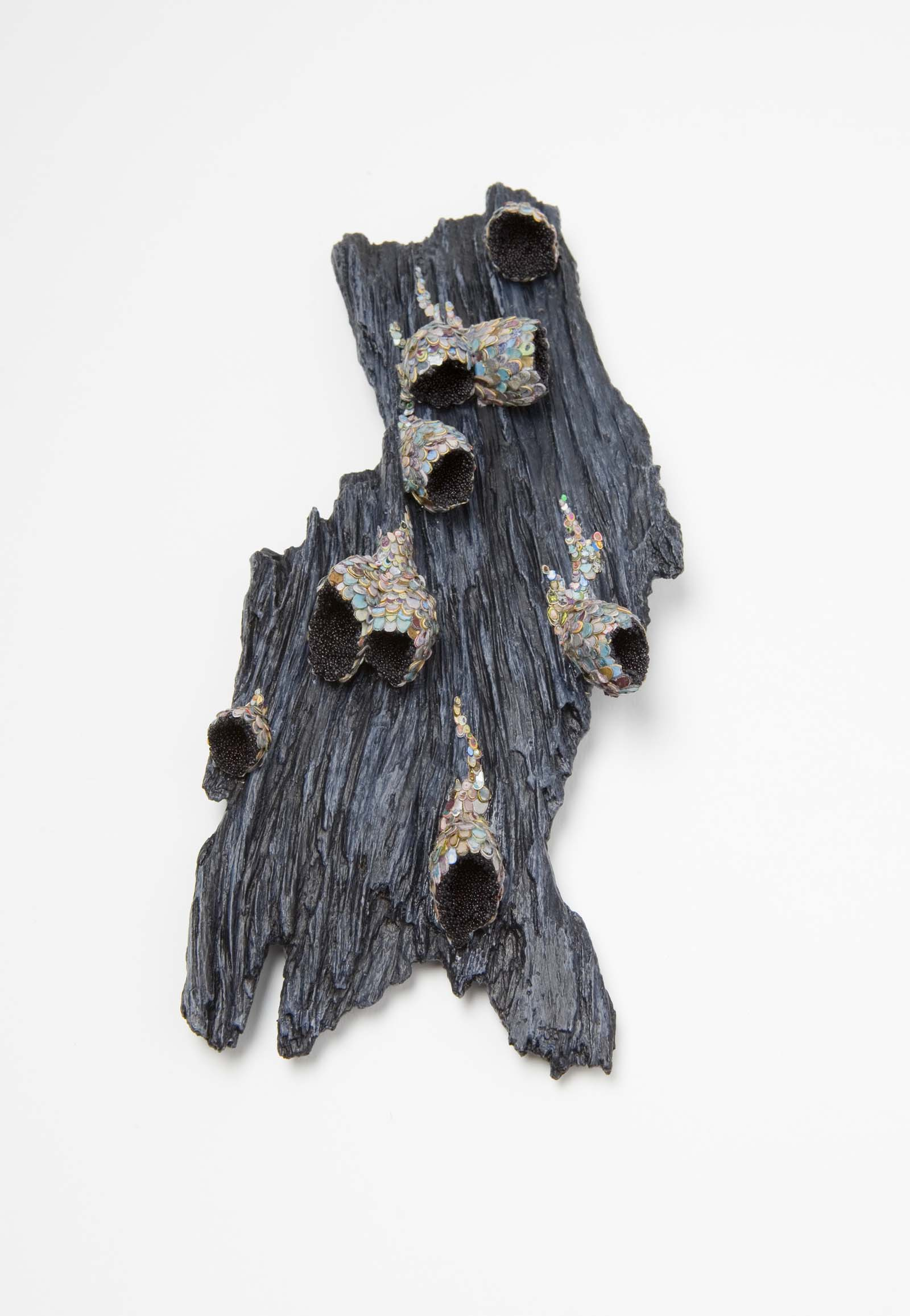 """Symbiosis 1"" I Brooch, 2015 I Wood, graffiti, almond shells, glass, silver, stainless steel, paint I Photo: Mirei Takeuchi"