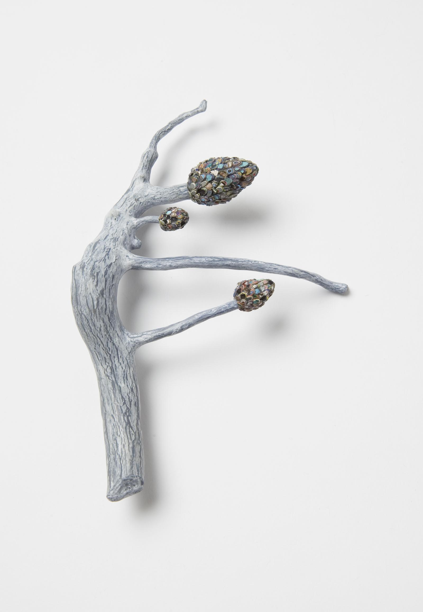 """Raduga Buds 3"" I Brooch, 2014 I Wood, graffiti, silver, stainless steel, paint I Photo: Mirei Takeuchi"
