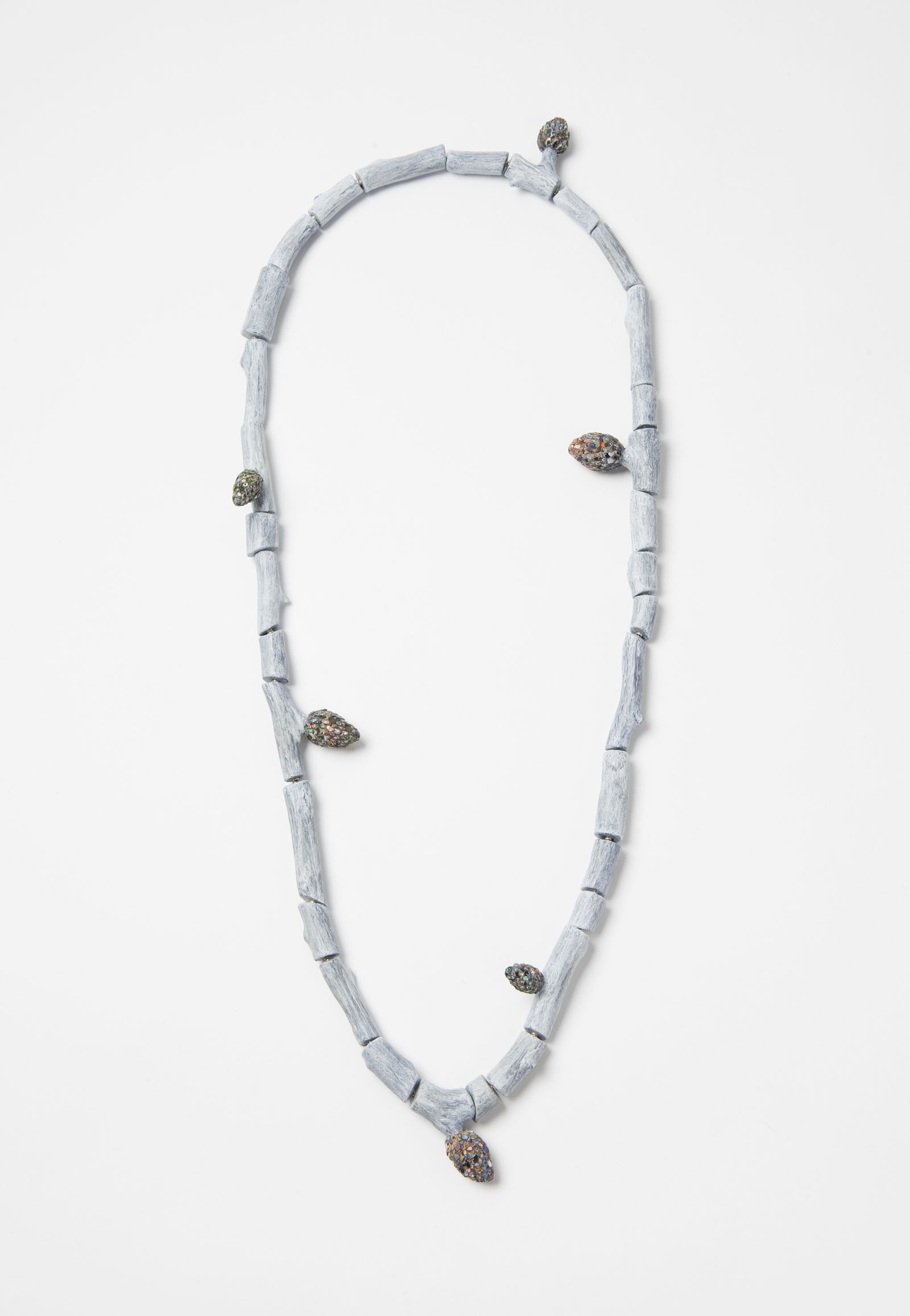 """Raduga Buds 1"" I Necklace, 2013 I Wood, graffiti, silver, steel wire, paint I Photo: Mirei Takeuchi"