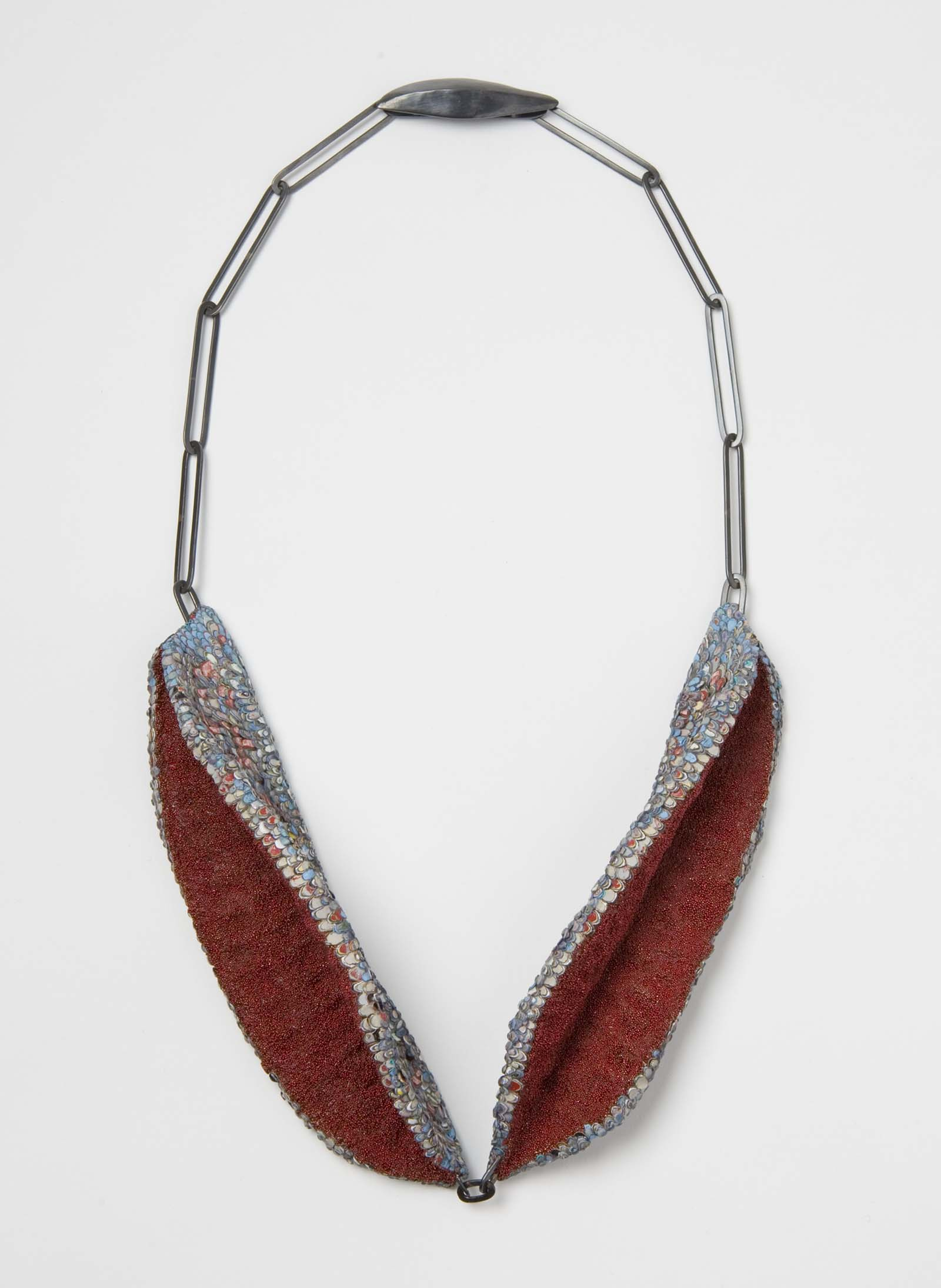 """""""Confessions Of A Hungry Heart"""" I Necklace, 2015 I Seed pods, graffiti, glass, silver  I Photo: Mirei Takeuchi"""