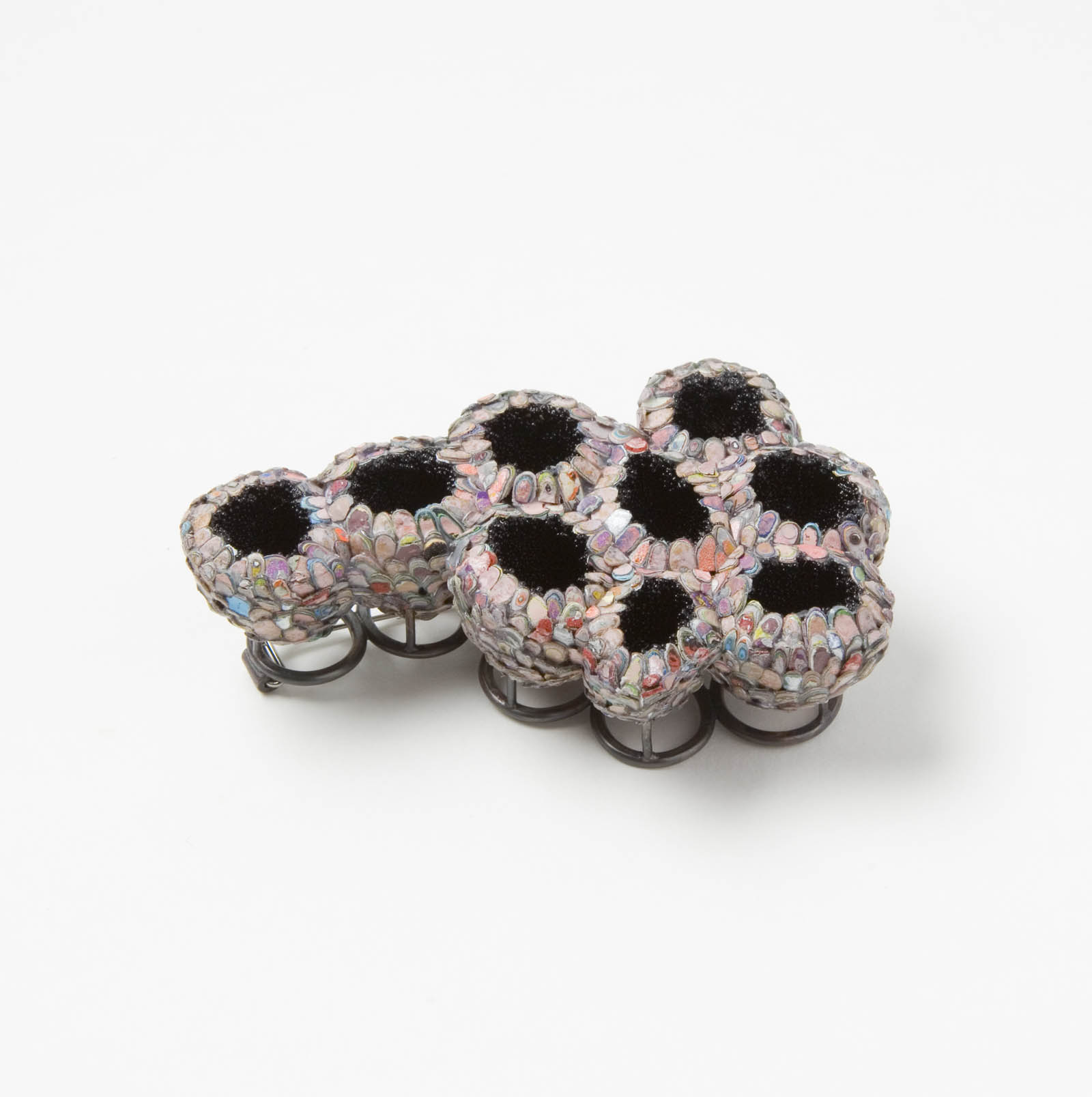 """""""The Secret Keepers (Pink)"""" I Brooch, 2016 I Seed pods, graffiti, glass, silver, stainless steel I Photo: Mirei Takeuchi"""