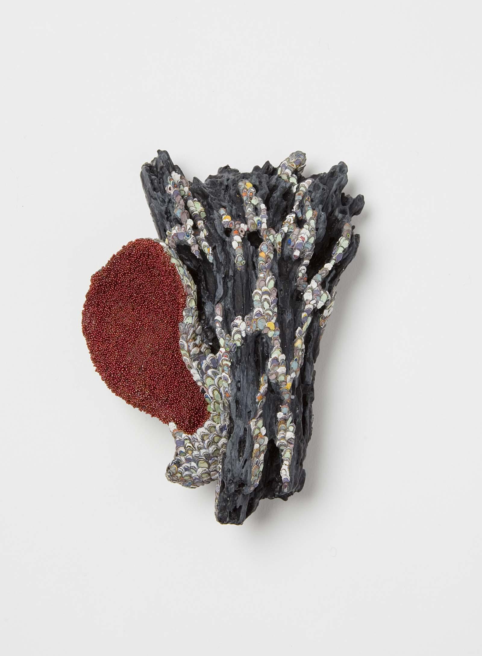 """Carnivore 2"" I Brooch, 2015 I Wood, graffiti, oyster shell, glass, silver, stainless steel, paint I Photo: Mirei Takeuchi"