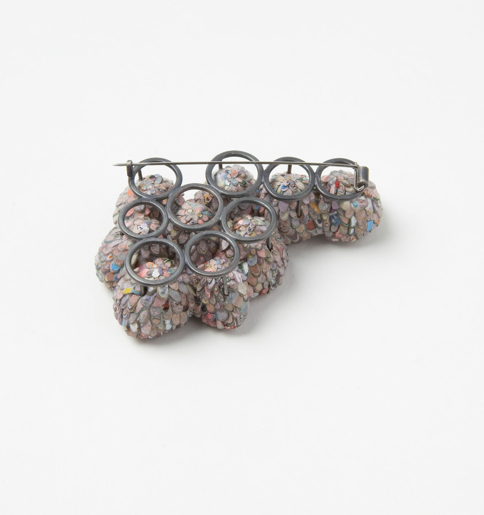 """The Secret Keepers (Pink)"" I Brooch, 2016 I Seed pods, graffiti, glass, silver, stainless steel I Photo: Mirei Takeuchi"