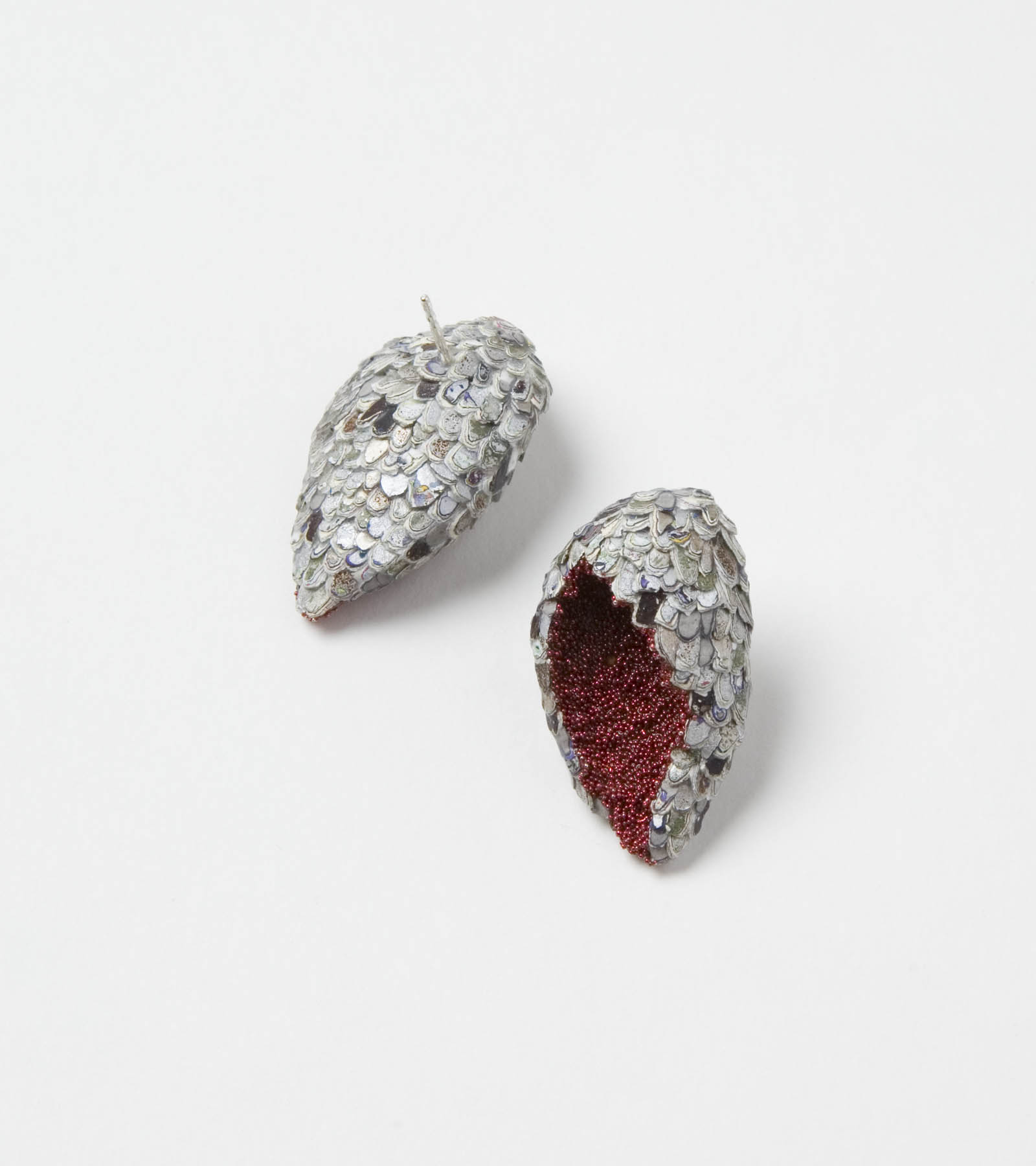 """Wing Shaped Karma Chroma Earrings"" I Earrings, 2016 I Graffiti, almond shells, glass, silver  I Photo: Mirei Takeuchi"