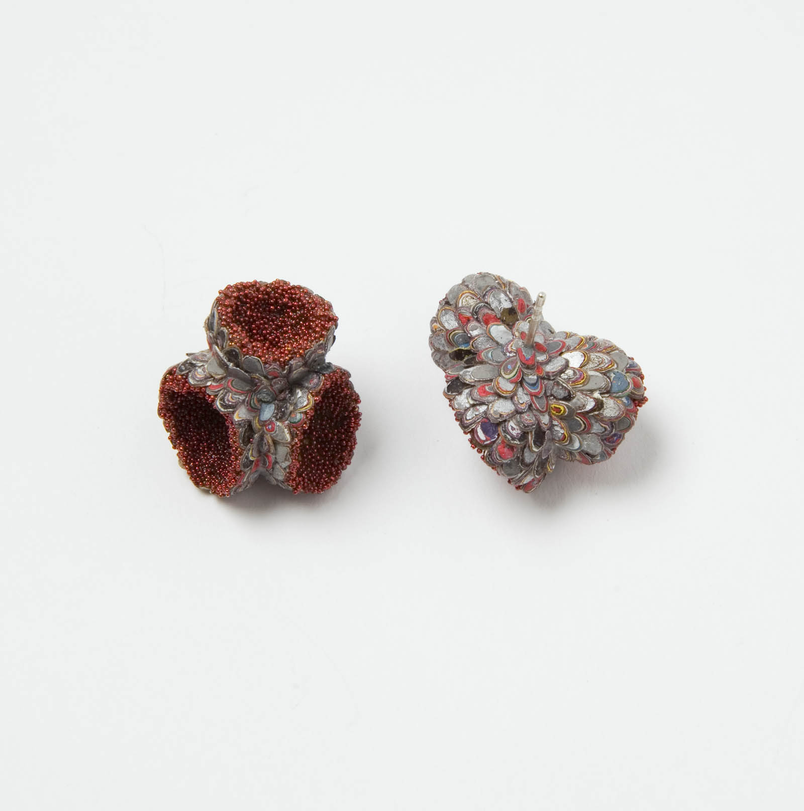 """Posy Shaped Karma Chroma Earrings"" I Earrings, 2016 I Graffiti, almond shells, glass, silver  I Photo: Mirei Takeuchi"