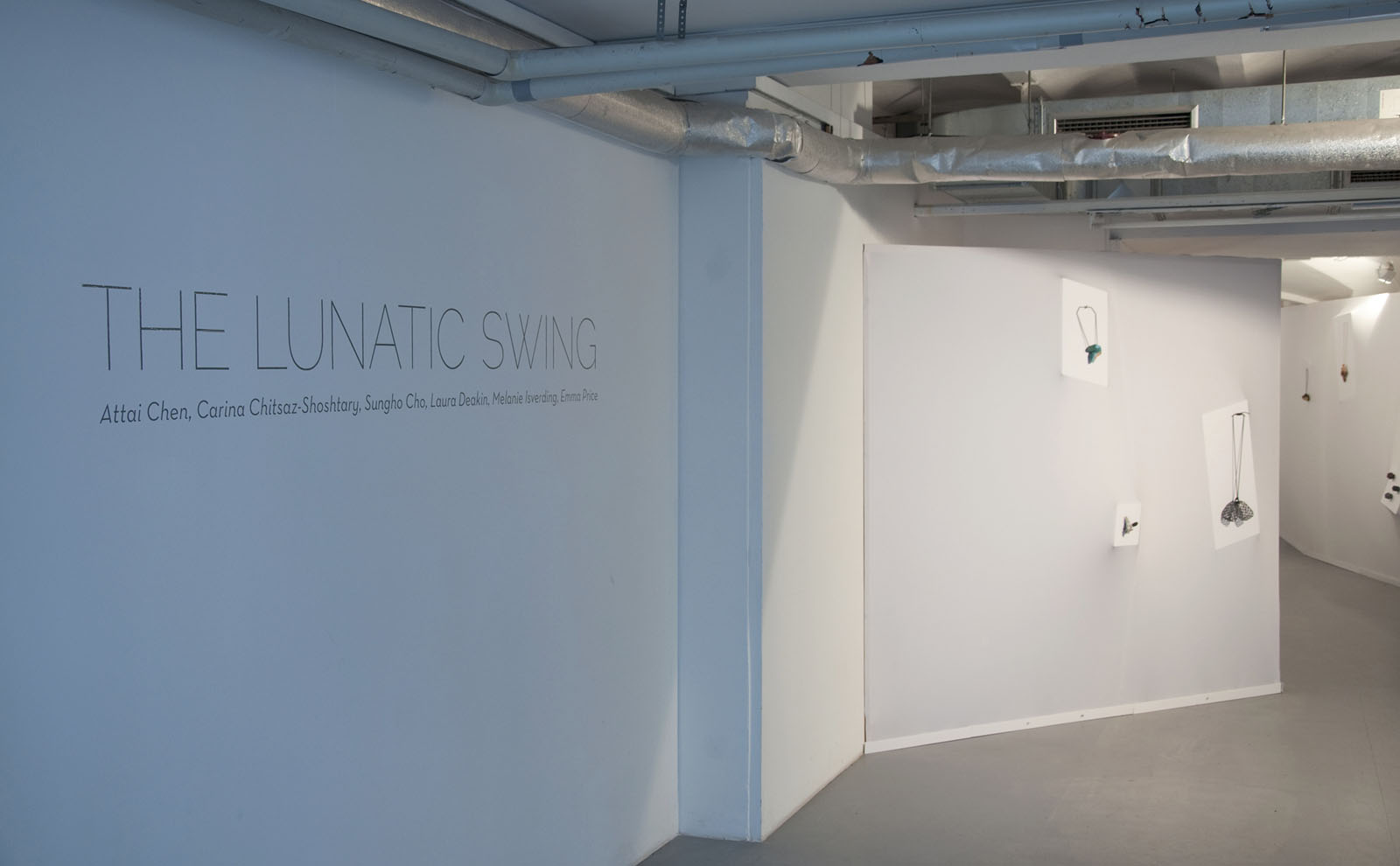 """The Lunatic Swing"" I 2013 I A group show of Attai Chen, Sungho Cho, Laura Deakin, Melanie Isverding, Emma Price and Carina Shoshtary I Kunstarkaden, Munich, Germany I Photo: Mirei Takeuchi"