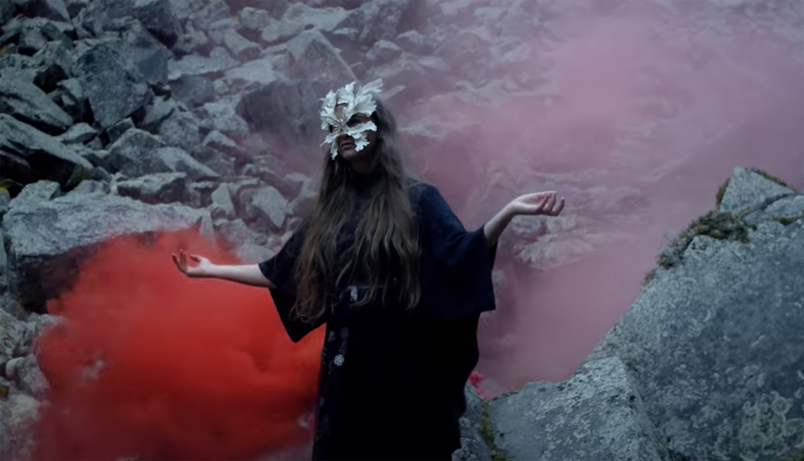 """Synne Sanden wearing """"The Lonely Beast III"""" mask in the """"Skeleton"""" music video I Photo by Simon Matthew Valentine I Dress by Tonje Plur"""