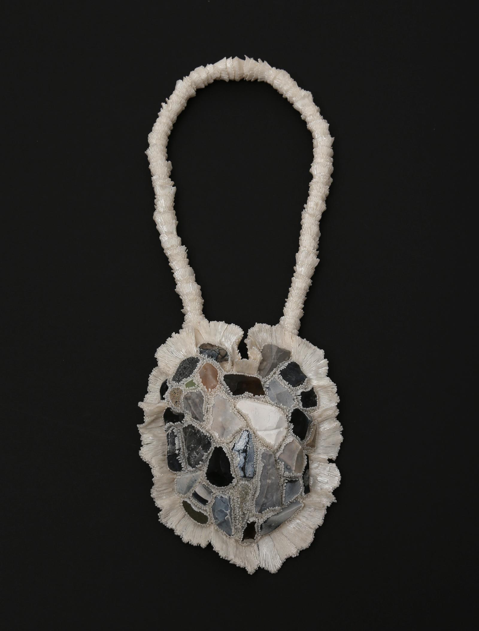 """""""The Gathering"""" I Necklace, 2019 I PLA, flint, glass, string I Photo: Carina Shoshtary"""