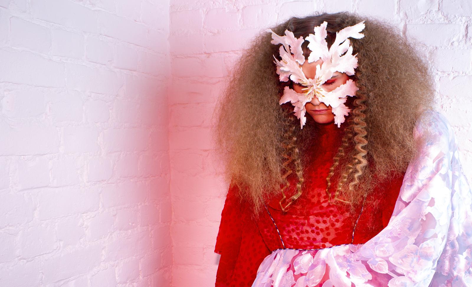 """Synne Sanden wearing """"The Lonely Beast III"""" mask I Photo by Ellinor Egeberg I Hair by Malin Wallin I Dress by Merilin Kolk"""