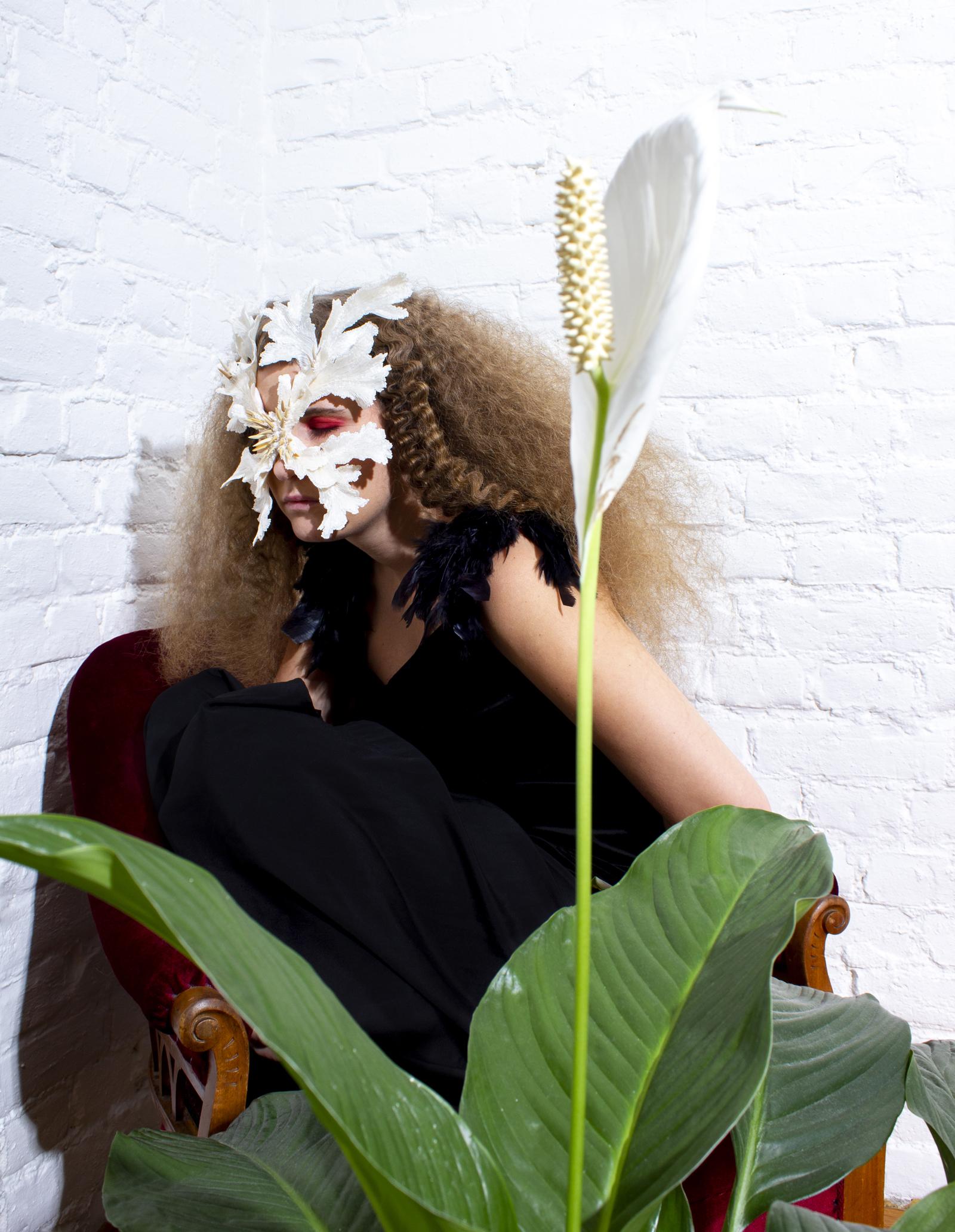 "Synne Sanden wearing ""The Lonely Beast III"" mask I Photo by Ellinor Egeberg I Hair by Malin Wallin"